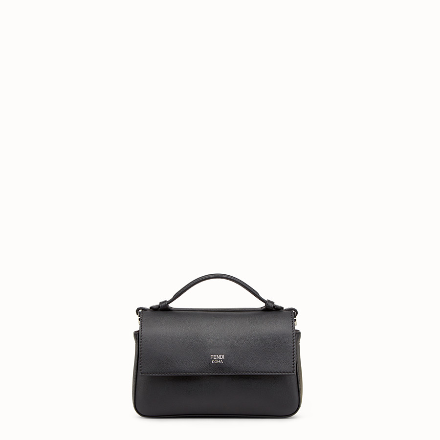 FENDI DOUBLE MICRO BAGUETTE - Microbag in black leather with studs - view 3 detail