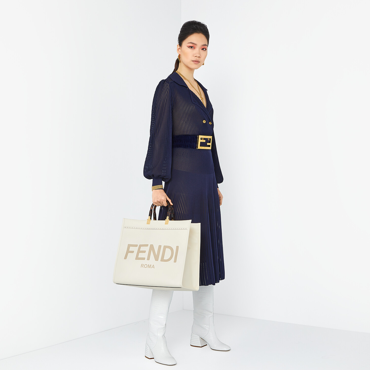 FENDI DRESS - Blue viscose dress - view 4 detail