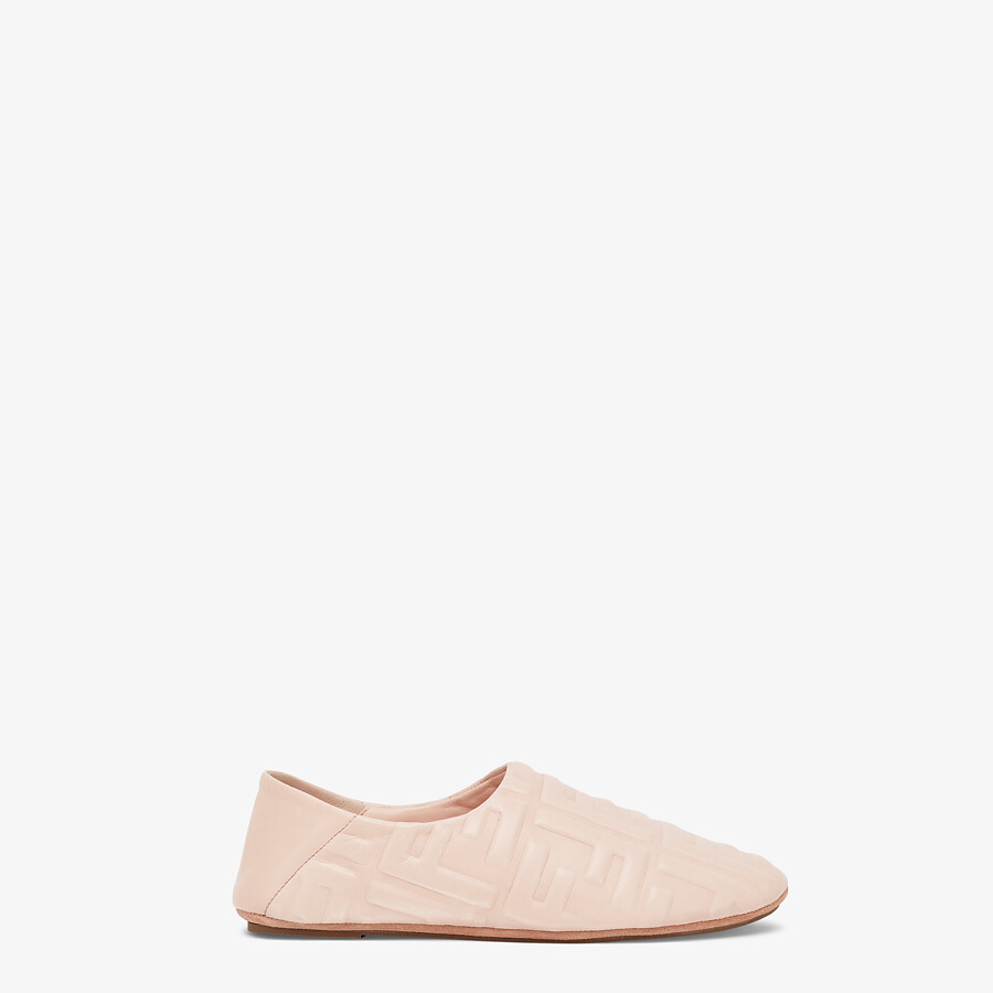 FENDI SLIPPERS - Pink nappa leather slippers - view 1 detail