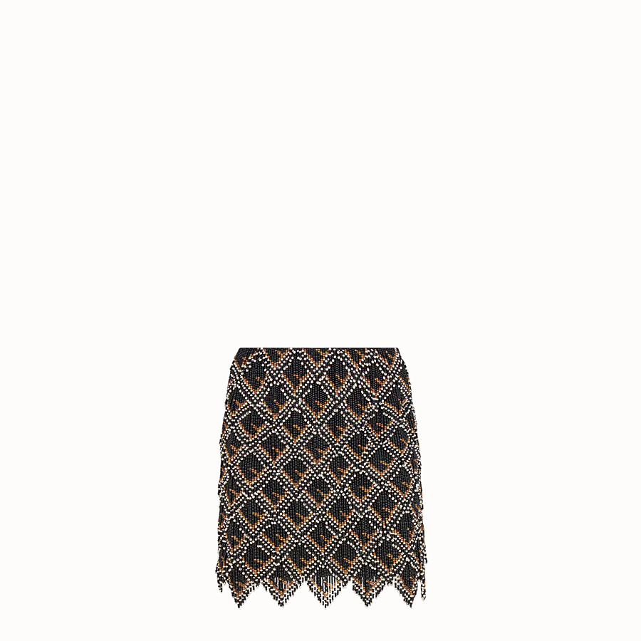 FENDI SKIRT - Black leather mini skirt - view 1 detail