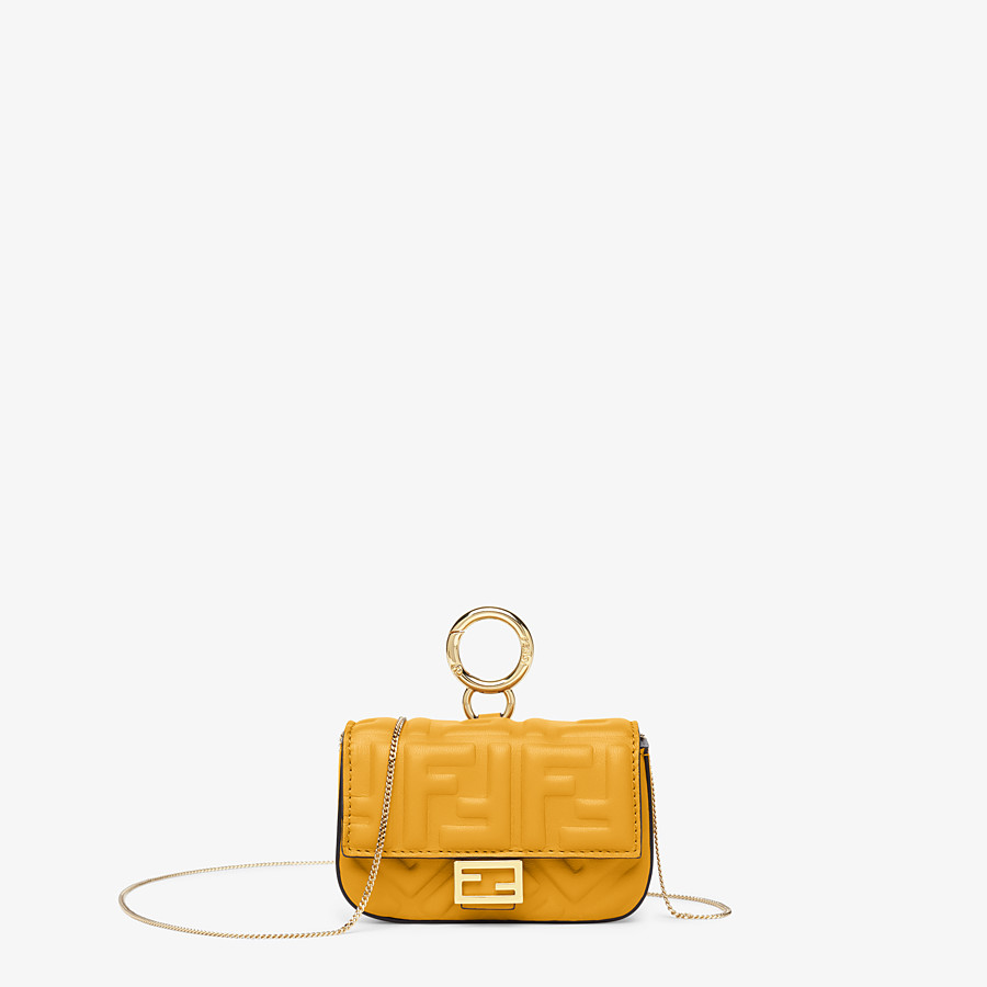 FENDI NANO BAGUETTE CHARM - Yellow nappa leather charm - view 1 detail