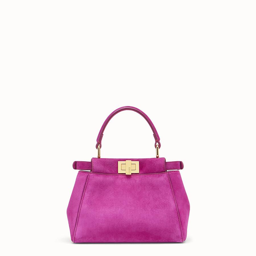 FENDI PEEKABOO ICONIC XS - Pink suede minibag - view 3 detail