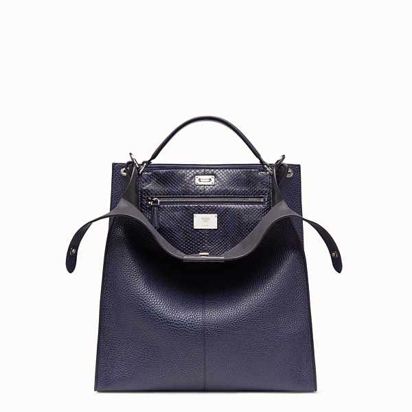 FENDI PEEKABOO X-LITE FIT - Blue calf leather bag - view 1 small thumbnail