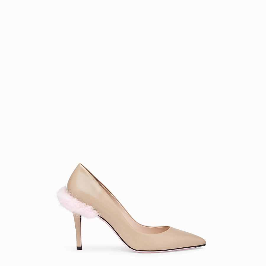 FENDI COURT SHOES - Beige leather court shoes - view 1 detail