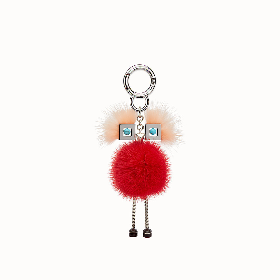 FENDI CHICK BAG CHARM - Charm in pink and red fur - view 2 detail
