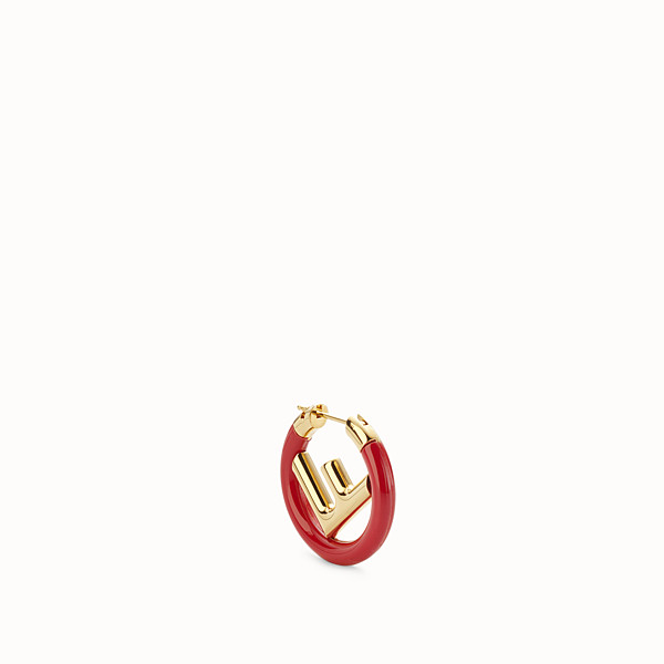 FENDI F IS FENDI EARRING - Gold and red coloured earring - view 1 small thumbnail