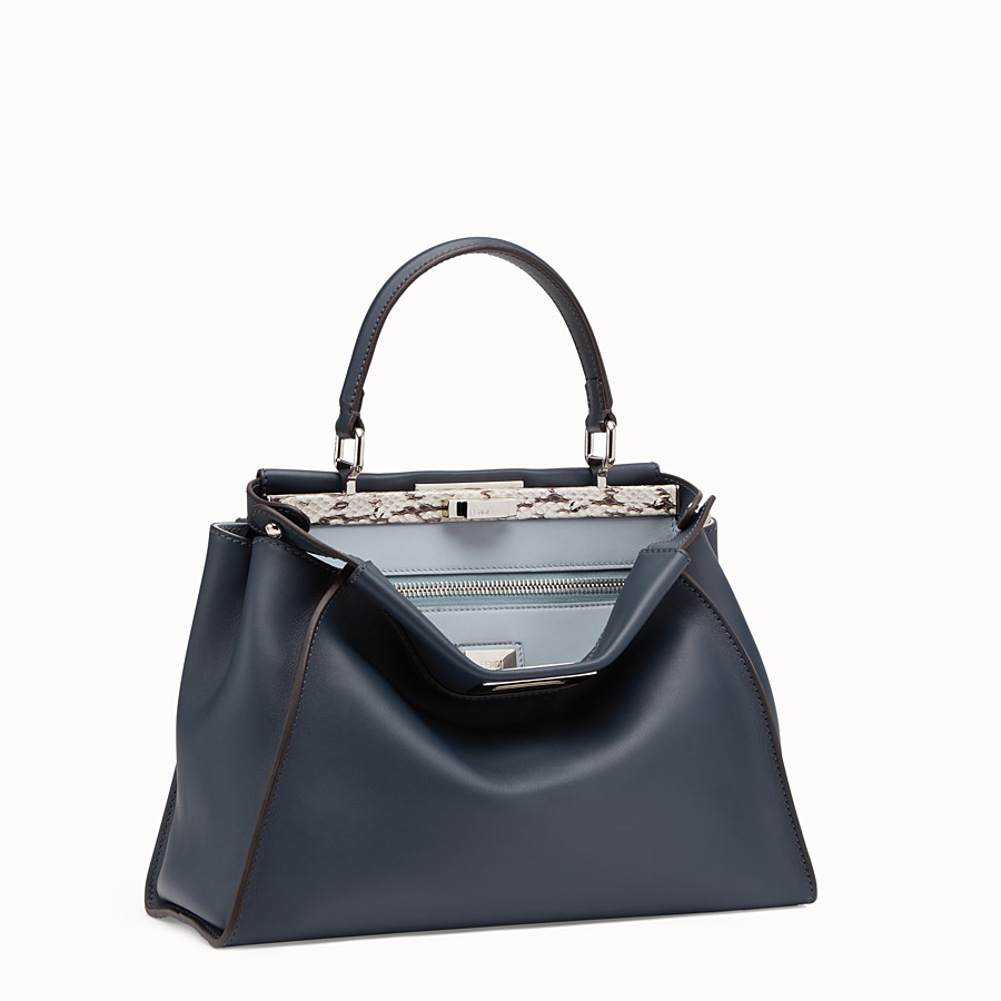 FENDI PEEKABOO REGULAR - Blue leather bag with exotic details - view 2 detail