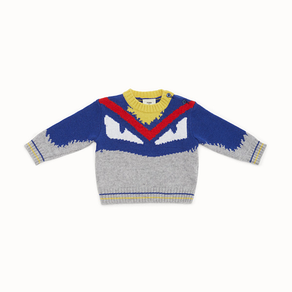 FENDI SWEATER - Baby boy's grey and multicolour wool blend jumper - view 1 small thumbnail