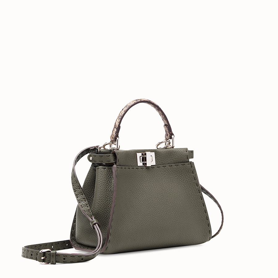 FENDI PEEKABOO MINI - Green leather bag with exotic details - view 2 detail
