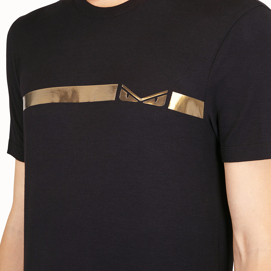 FENDI T-SHIRT - Black cotton T-shirt - view 4 detail