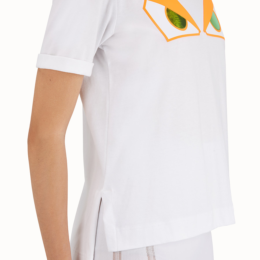 FENDI T-SHIRT - White cotton T-shirt - view 4 detail