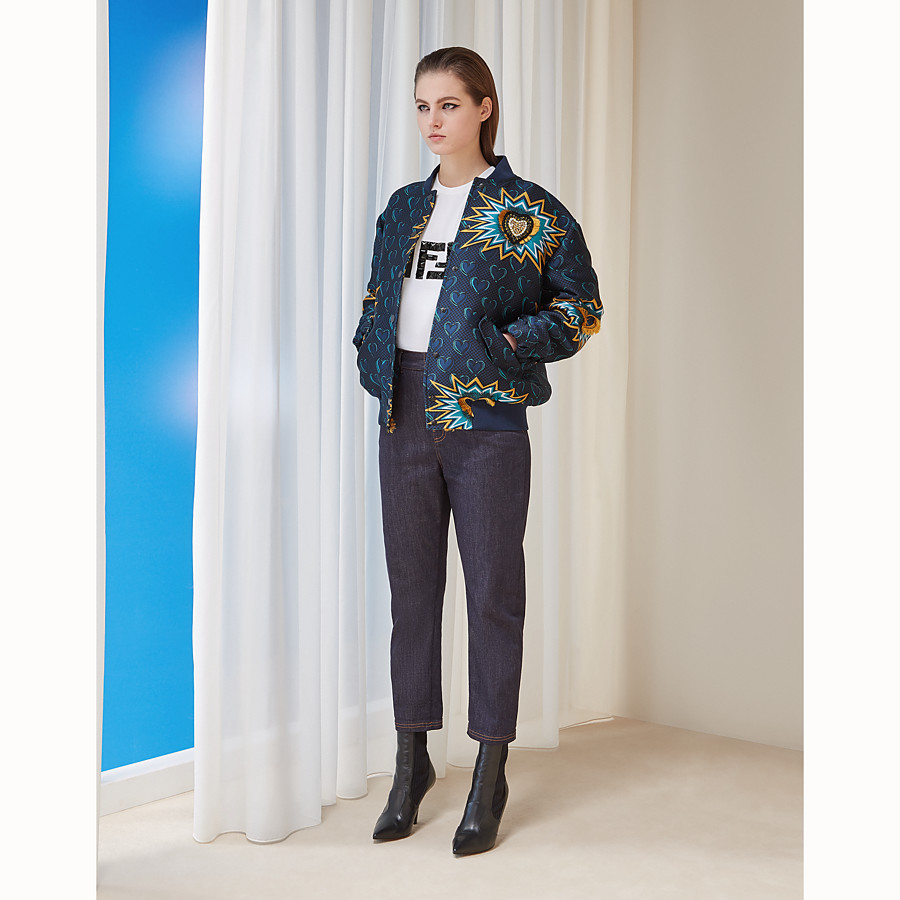 FENDI TROUSERS - Blue denim trousers - view 4 detail