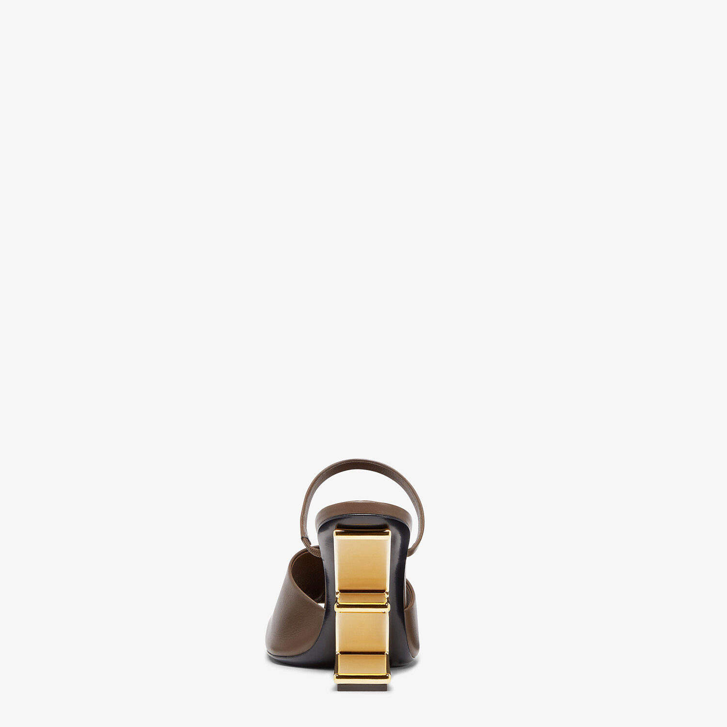 FENDI FENDI FIRST - Brown leather high-heeled sandals - view 3 detail