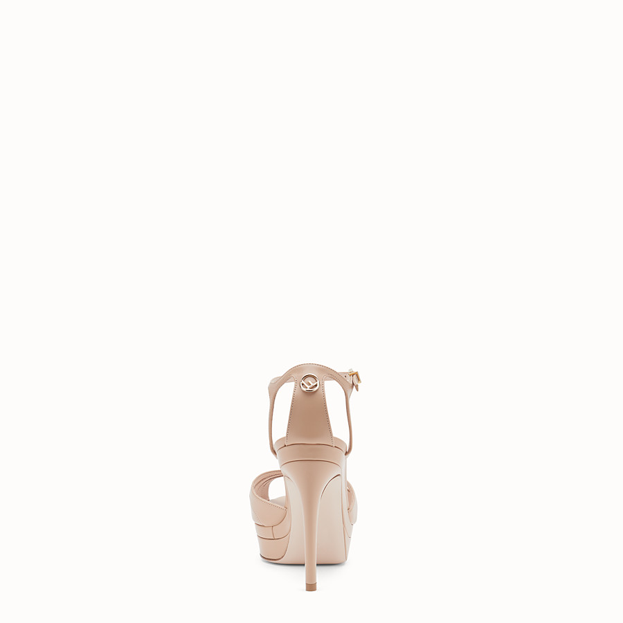 FENDI SANDALS - Pink leather high sandals - view 3 detail