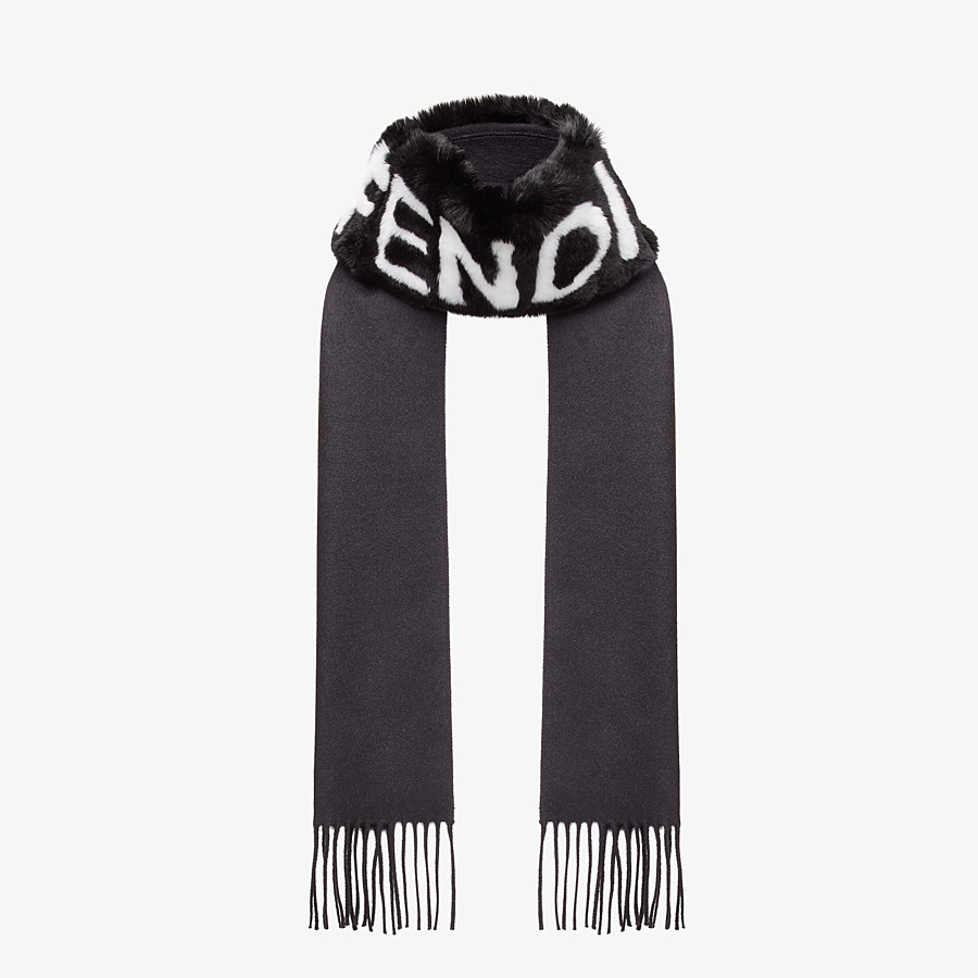 FENDI SCARF - Black silk, cashmere and fur scarf - view 2 detail