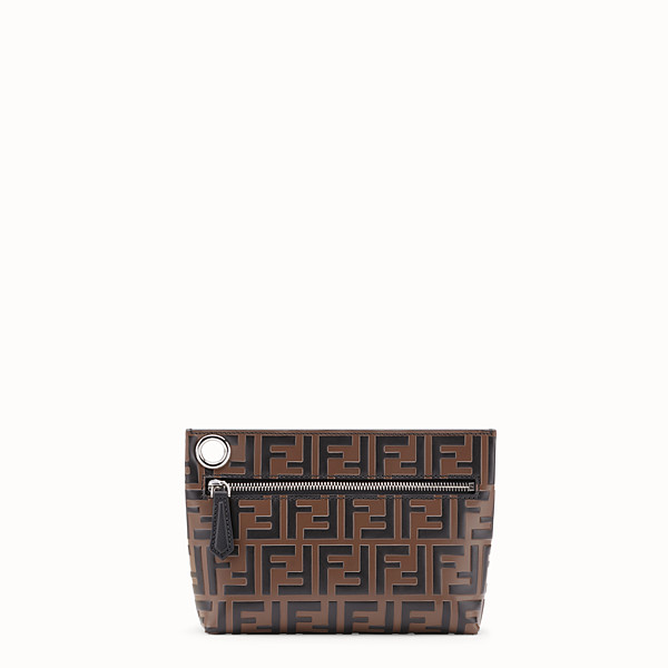 FENDI MEDIUM PYRAMID POUCH - Brown leather pouch - view 1 small thumbnail