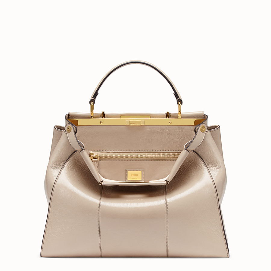 FENDI PEEKABOO ICONIC LARGE - Beige leather bag - view 1 detail