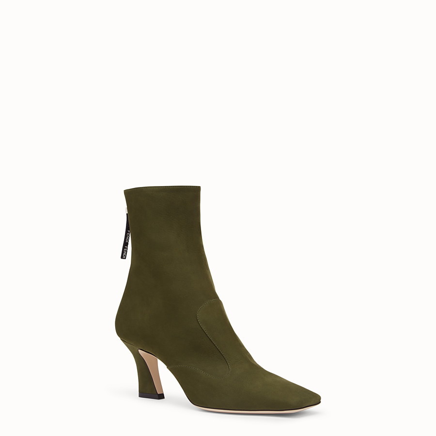 FENDI BOOTS - Booties in green nubuck leather - view 2 detail