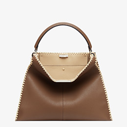 FENDI PEEKABOO X-LITE LARGE - Brown leather bag - view 3 thumbnail
