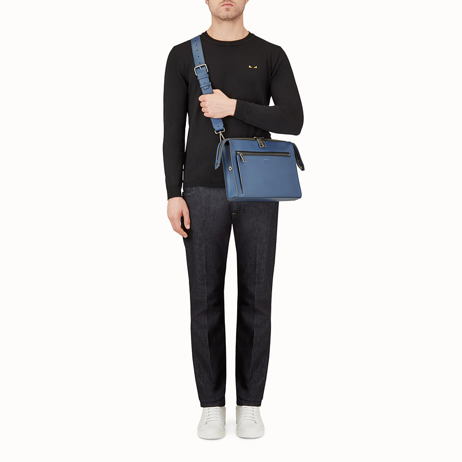 FENDI DOCUMENT HOLDER - Smooth blue leather bag - view 5 detail