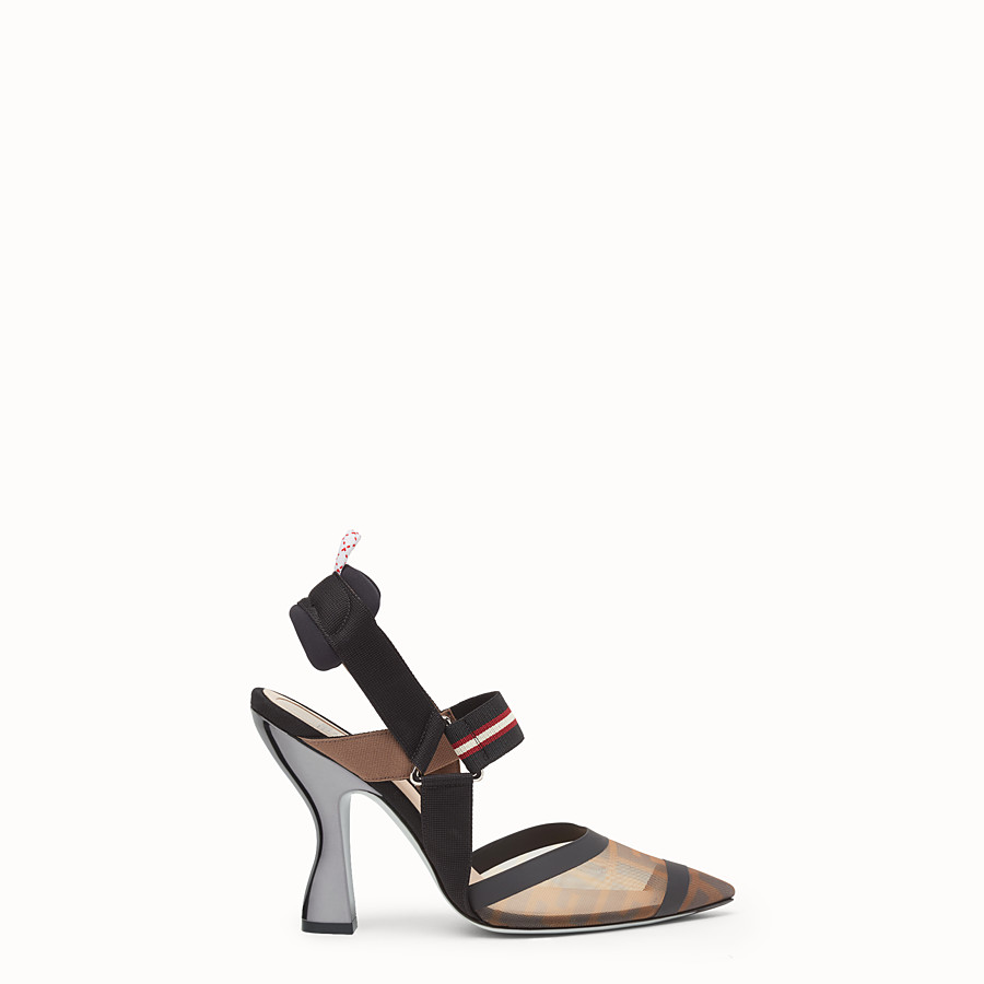 FENDI COURT SHOES - Multicolour technical mesh slingbacks - view 1 detail