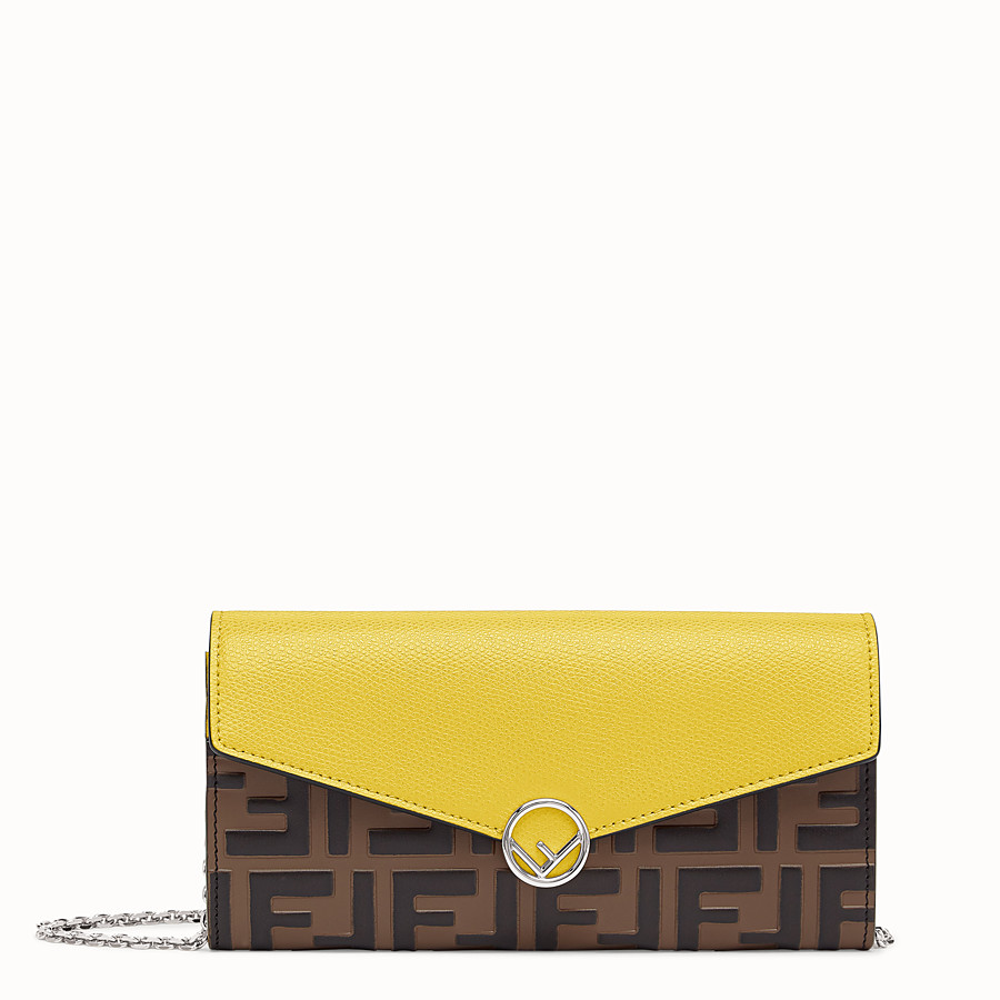 FENDI CONTINENTAL WITH CHAIN - Yellow leather wallet - view 1 detail