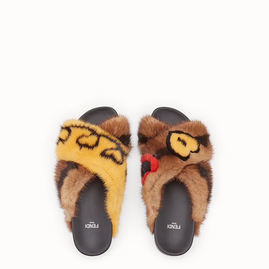 FENDI SANDALS - Multicolour fur slides - view 4 detail