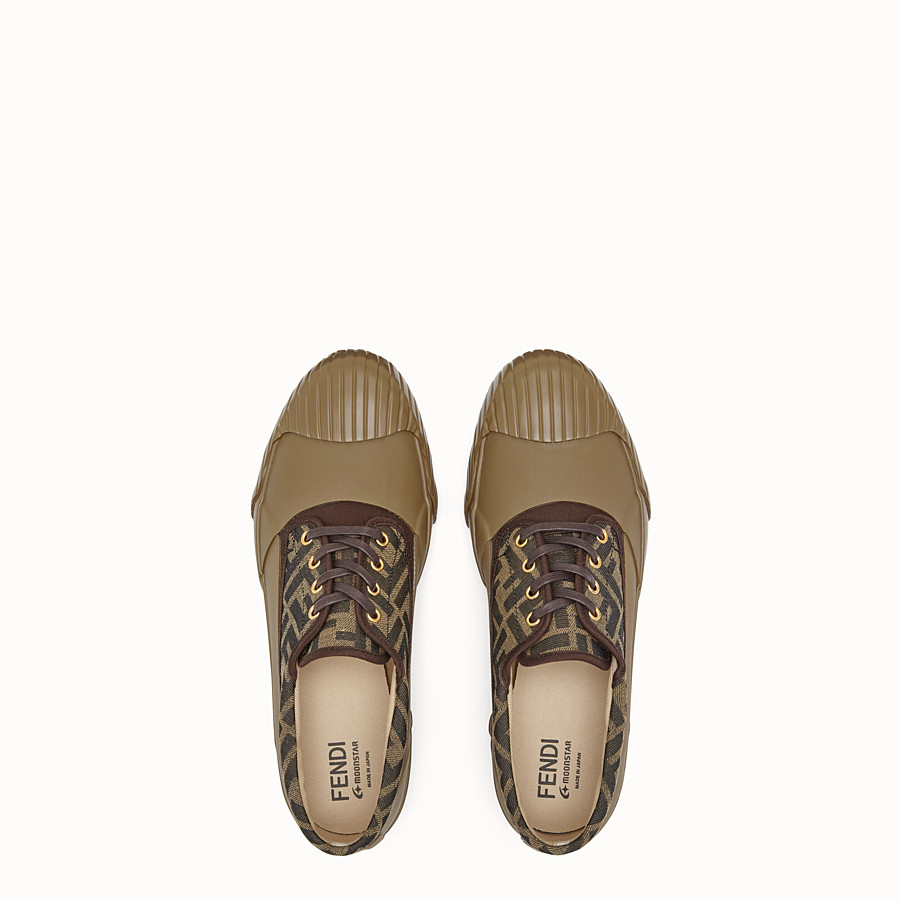 FENDI FENDI AND MOONSTAR SNEAKERS - Multicolour canvas and rubber low-tops - view 4 detail