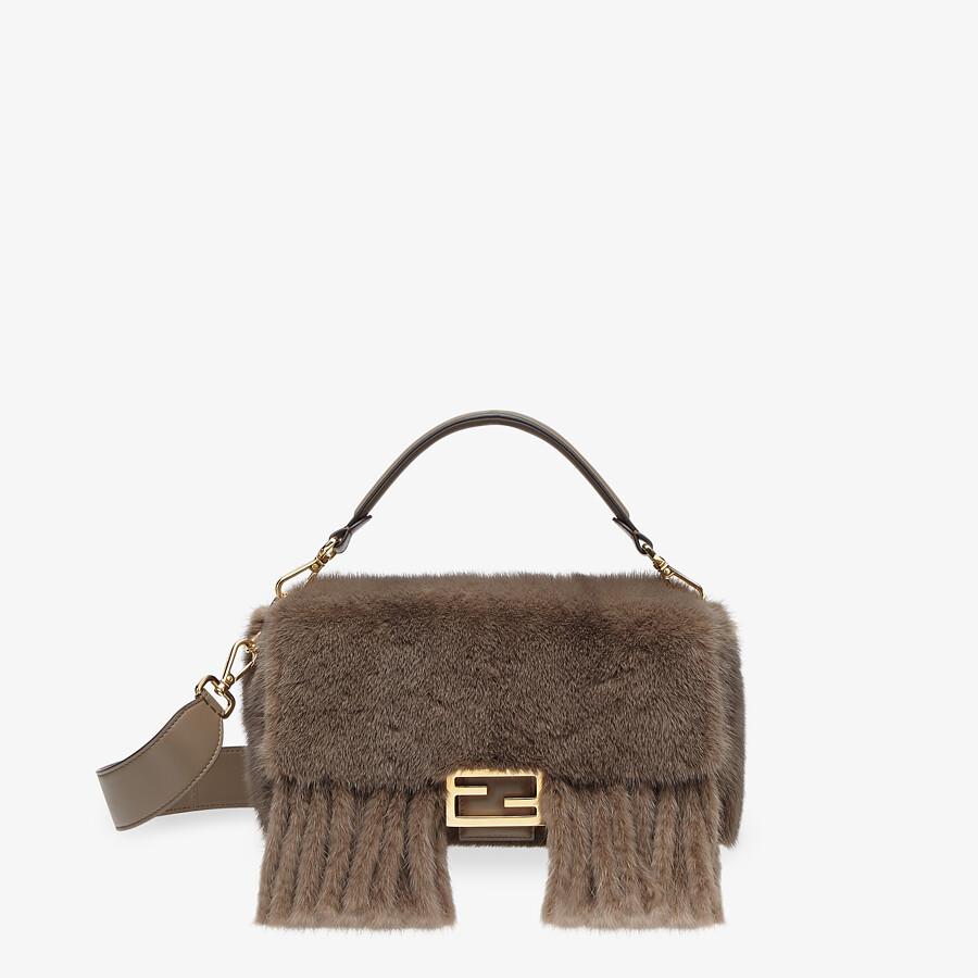 FENDI BAGUETTE - Gray mink bag with fringing - view 1 detail