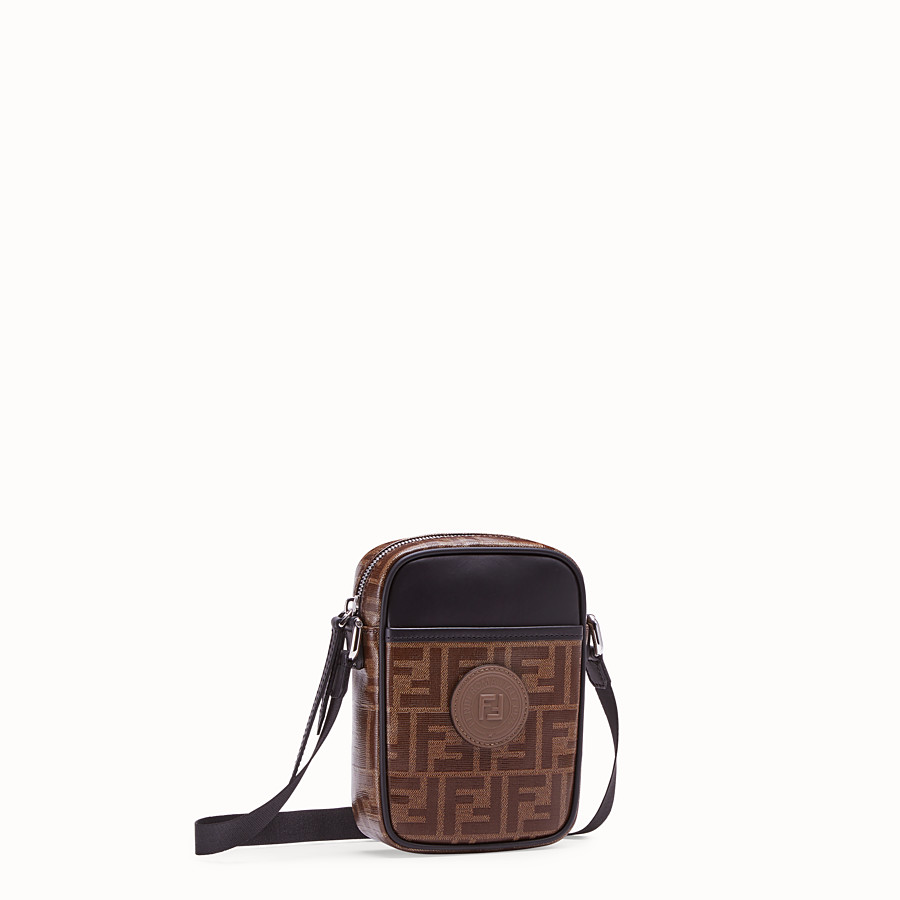 FENDI SMALL MESSENGER - Brown fabric cross-body - view 2 detail