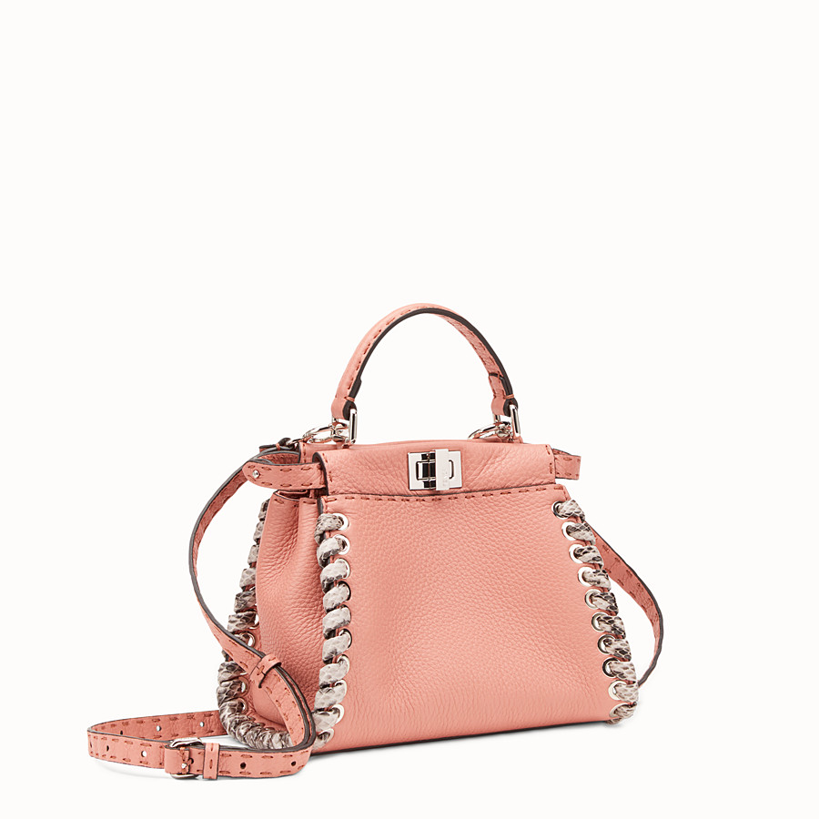 FENDI PEEKABOO MINI - Pink leather mini-bag with exotic details - view 2 detail