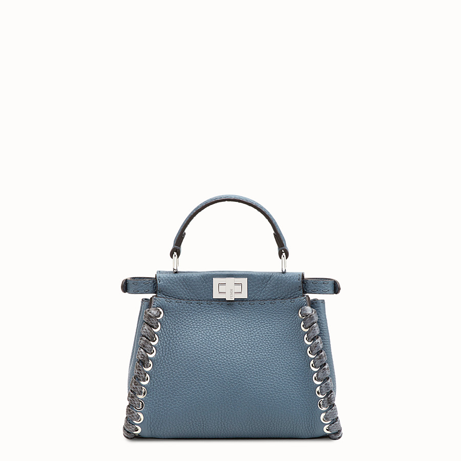 FENDI PEEKABOO MINI - Blue leather bag - view 3 detail