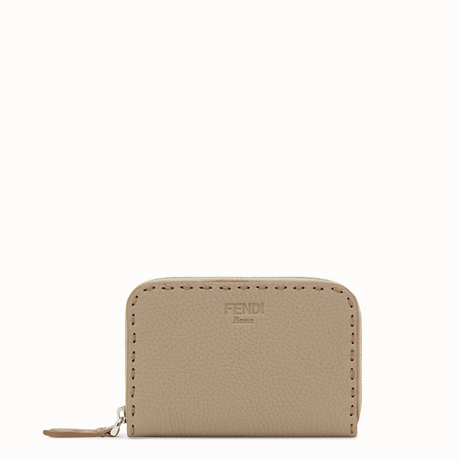 FENDI SMALL ZIP-AROUND - Beige leather wallet - view 1 detail