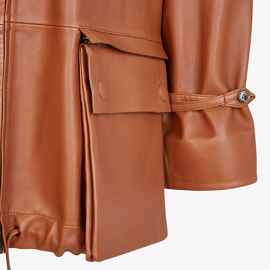 FENDI TRENCH COAT - Brown leather jacket - view 3 detail