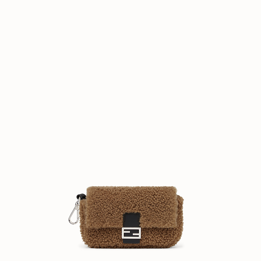 FENDI MICRO BAGUETTE - Micro-bag in brown sheepskin - view 1 detail