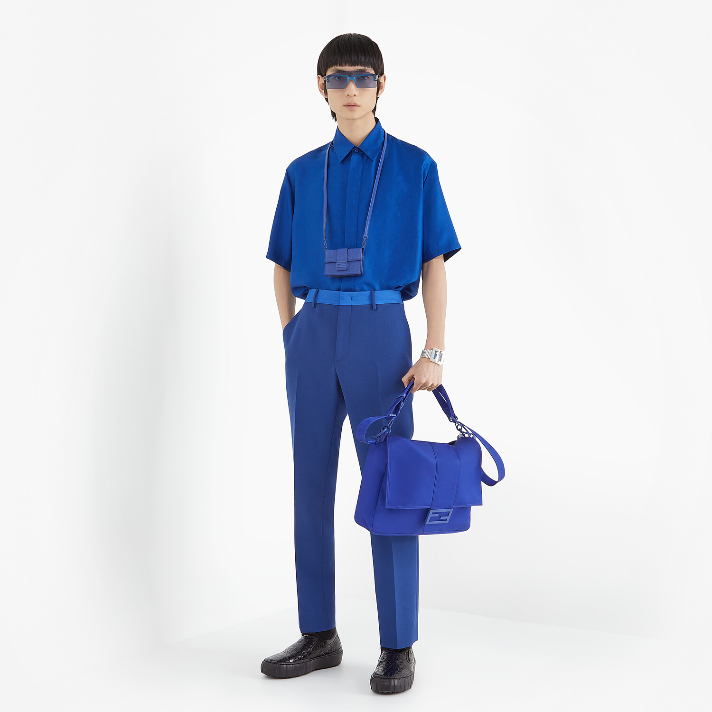 FENDI SHIRT - Blue silk shirt - view 4 detail