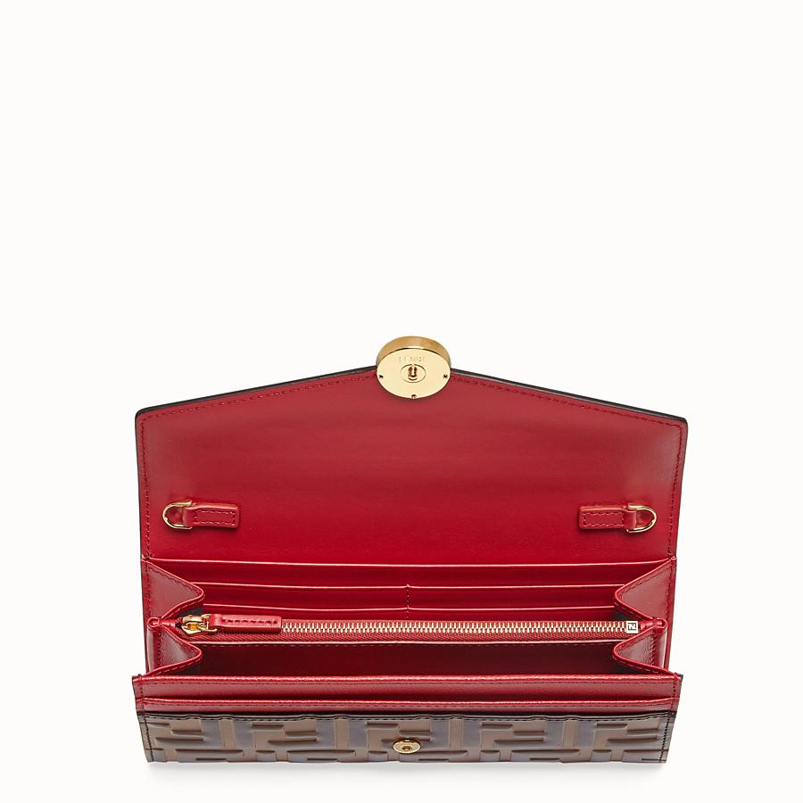 FENDI CONTINENTAL WITH CHAIN - Portafoglio in pelle rossa - vista 4 dettaglio