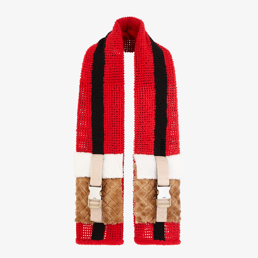 FENDI SCARF - Red shearling scarf - view 2 detail