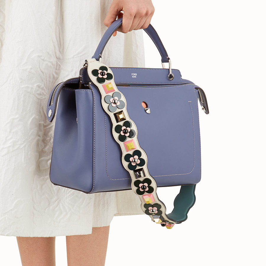 FENDI STRAP YOU - Shoulder strap in white leather with studs - view 2 detail