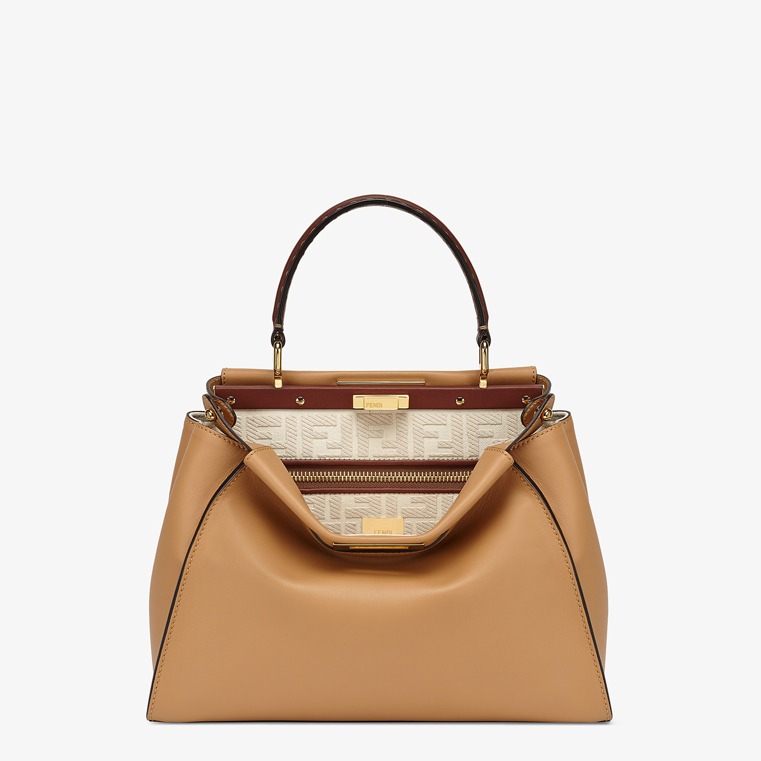 FENDI PEEKABOO ICONIC MEDIUM - Borsa in pelle beige e ricamo FF - vista 1 dettaglio