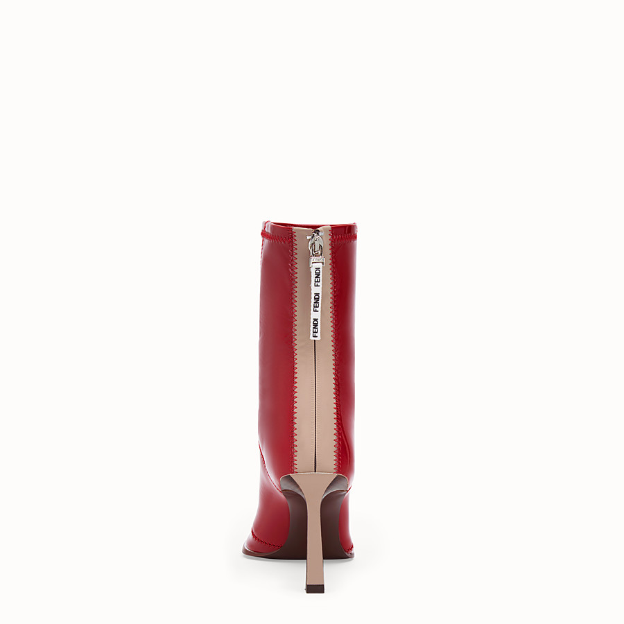 FENDI ANKLE BOOTS - Glossy red neoprene ankle boots - view 3 detail