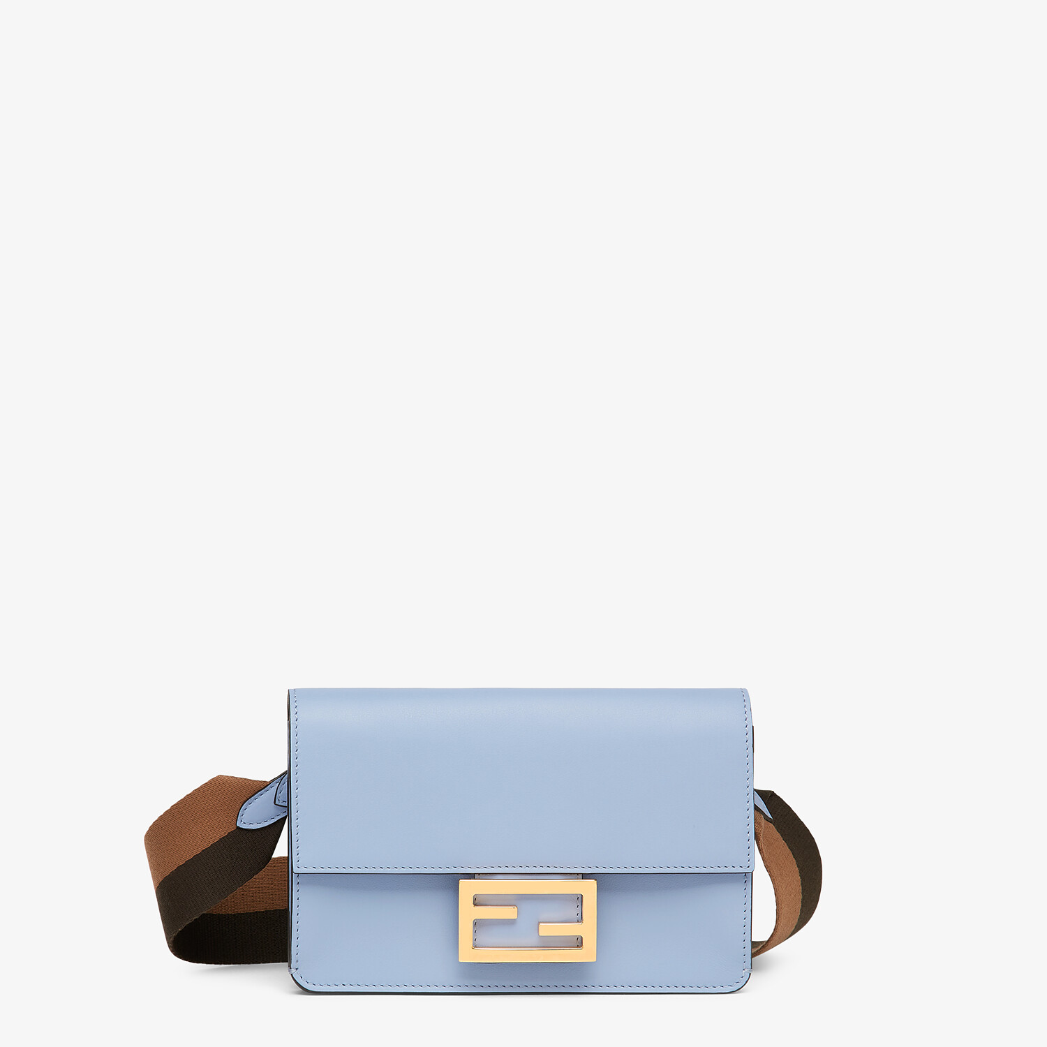 FENDI FLAT BAGUETTE - Light blue leather mini-bag - view 1 detail