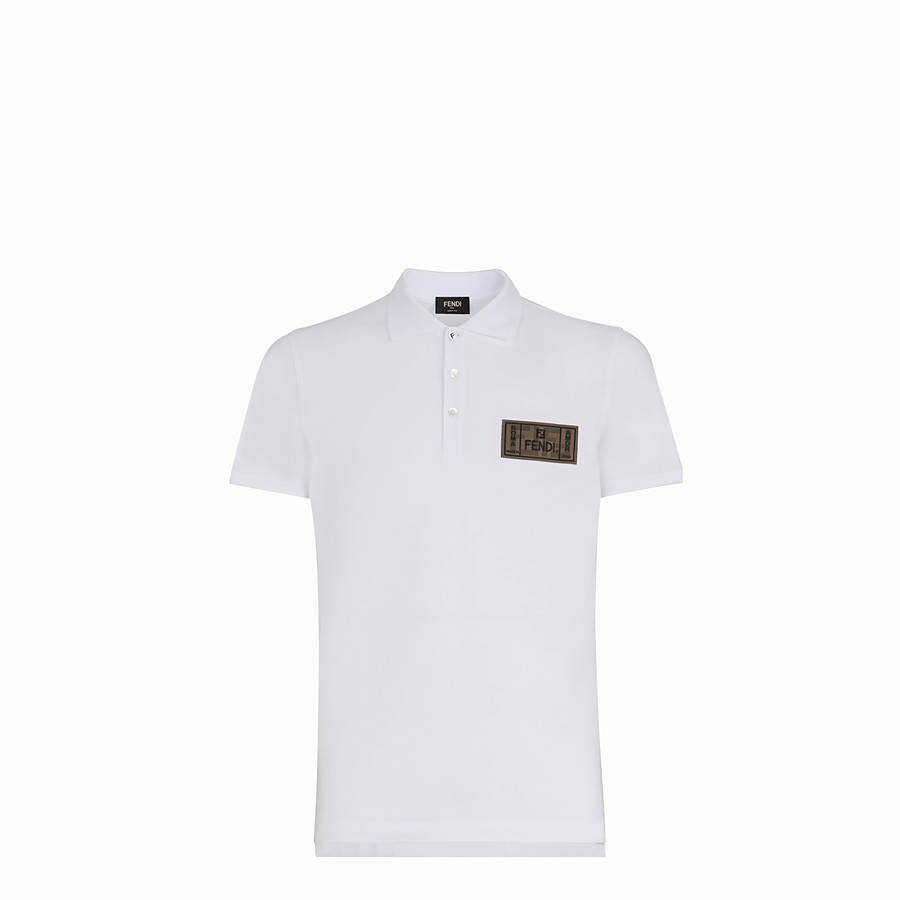 FENDI T-SHIRT - White piqué polo shirt - view 1 detail