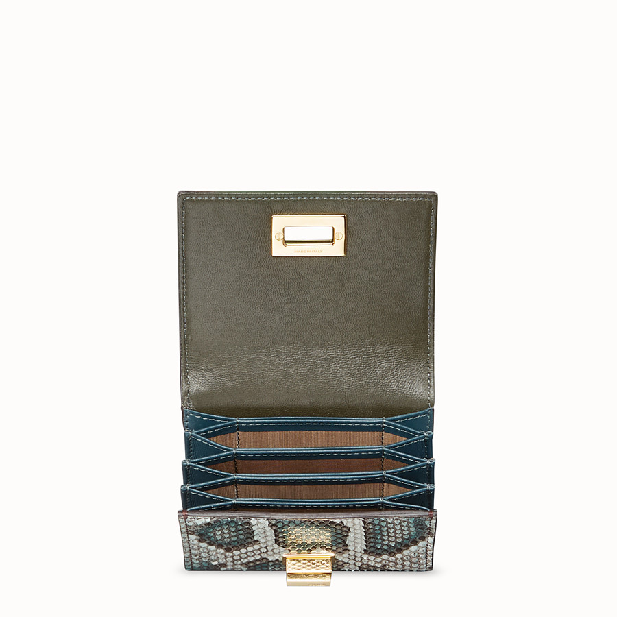 FENDI CARD HOLDER - Green python card holder - view 4 detail