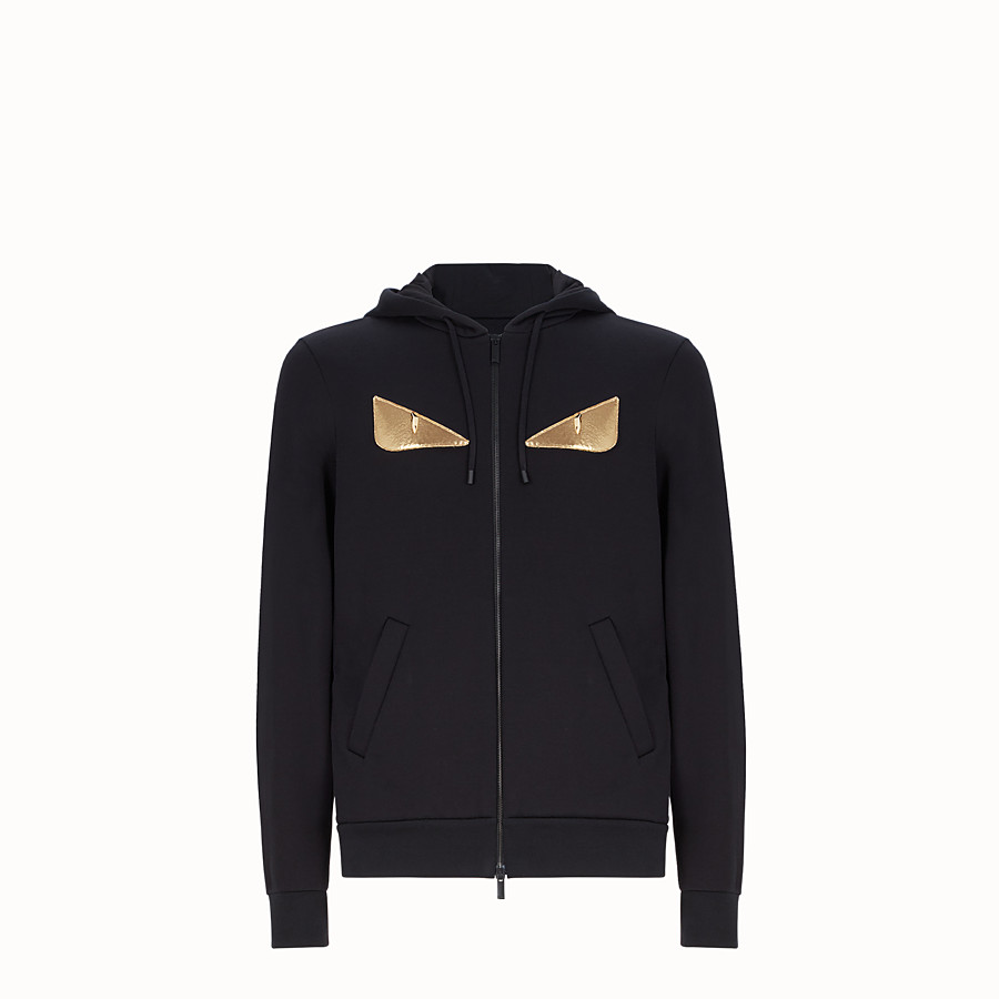 FENDI SWEATSHIRT - Black sweatshirt with hood - view 1 detail