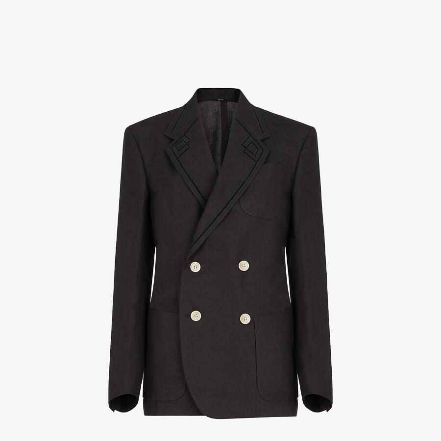 FENDI JACKET - Black hemp fabric blazer - view 1 detail