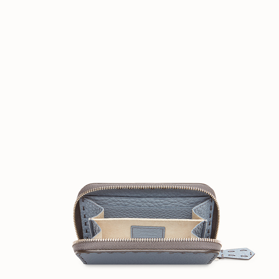 FENDI SMALL ZIP-AROUND - Pale blue leather wallet - view 4 detail