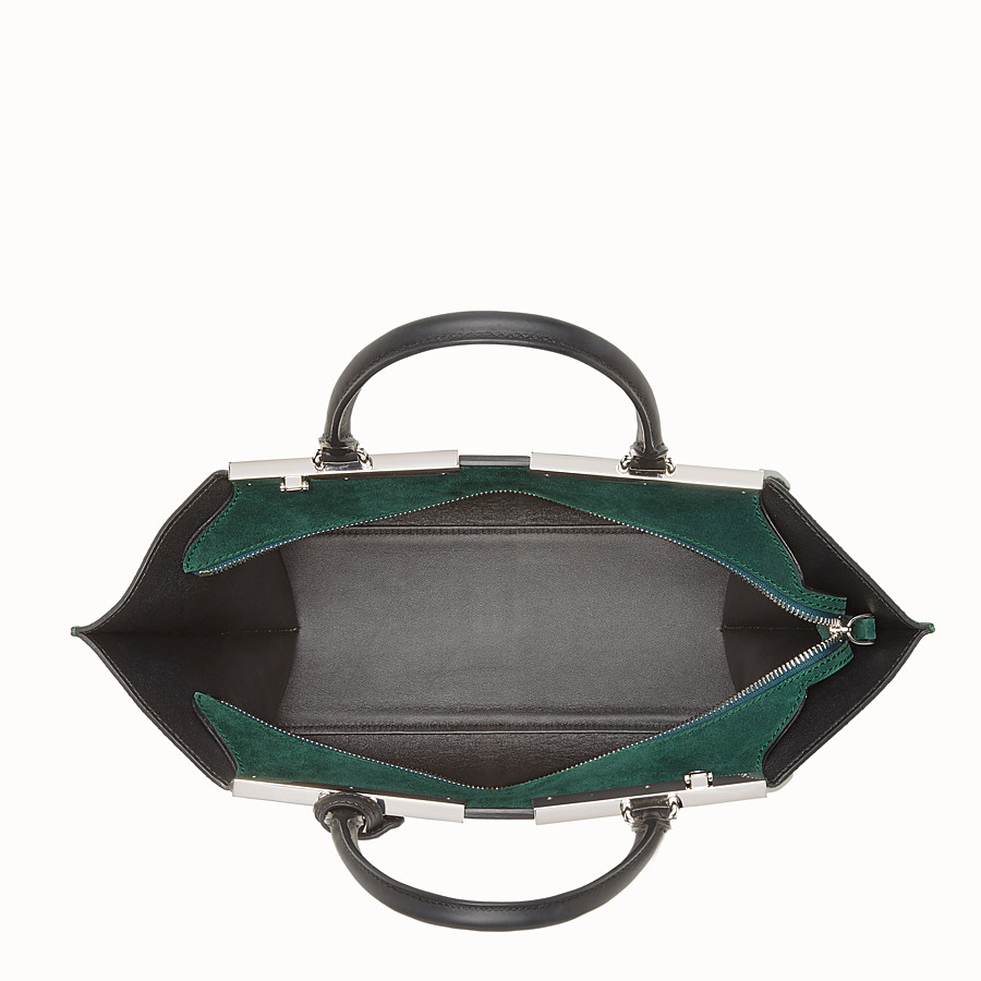 FENDI 3JOURS - Black and green leather shopper bag - view 4 detail