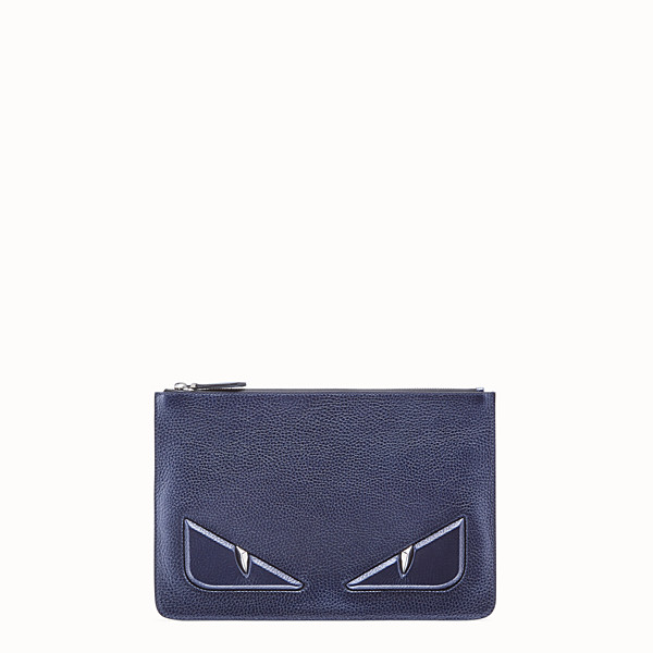 FENDI POUCH - Blue leather slim pouch - view 1 small thumbnail