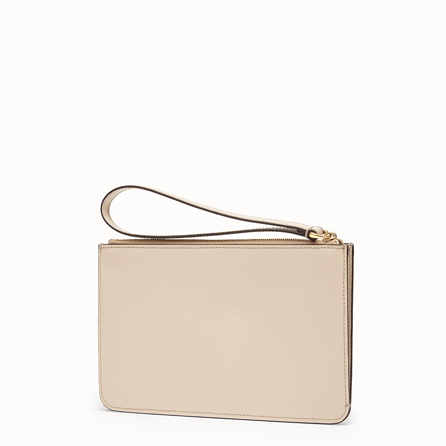 FENDI FLAT CLUTCH - Beige leather pochette - view 2 detail